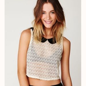 2/$30 Free people Peter Pan lace top size xs